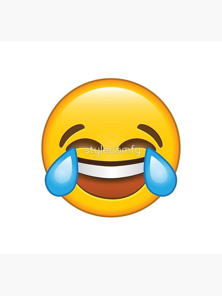Carte De Vœux Rire Pleurant Larmes De Joie Emoji Par Stylecomfy Redbubble