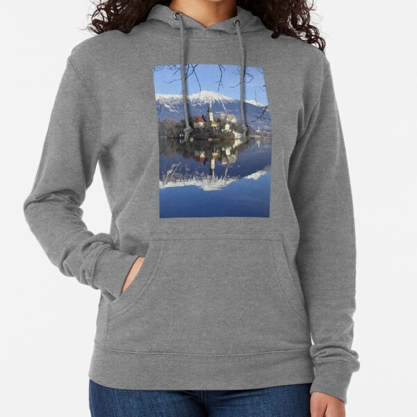 Church on island at Lake Bled Slovenia Lightweight Hoodie