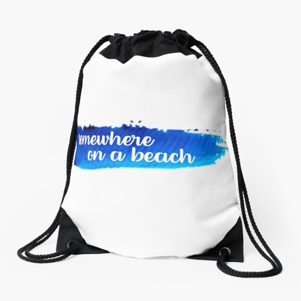 Somewhere on a Beach Watercolor Stroke Drawstring Bag