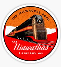 TRAIN THE MILWAUKEE ROAD THE HIAWATHAS VINTAGE STYLE ART DECO TRAVEL DECAL Sticker
