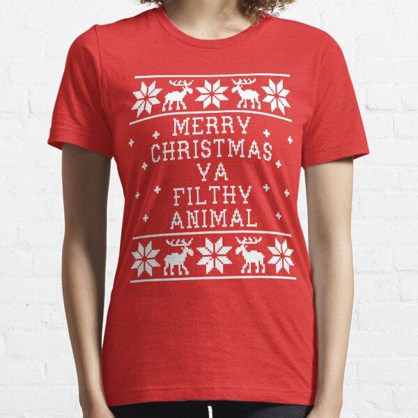 Frohe Weihnachten Ya Filthy Animal Essential T-Shirt