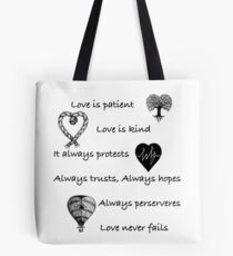 Love is patient...(with hearts) Tote Bag