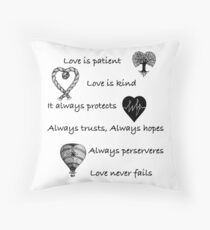 Love is patient...(with hearts) Throw Pillow