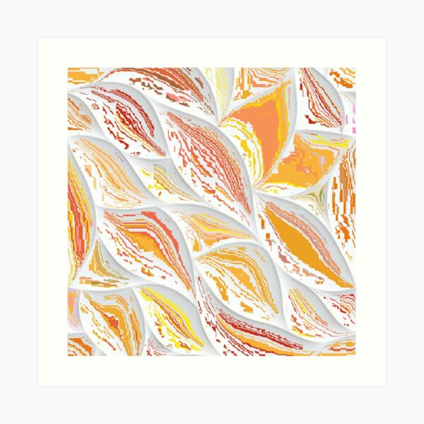 Abstract Orange Red Leaves (D100) Art Print