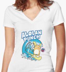 Alolan Punch Women's Fitted V-Neck T-Shirt