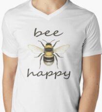 Bee Happy Mens V-Neck T-Shirt