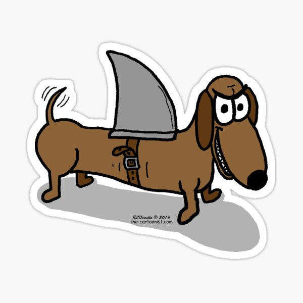 Wiener Dog with a Shark Fin Sticker