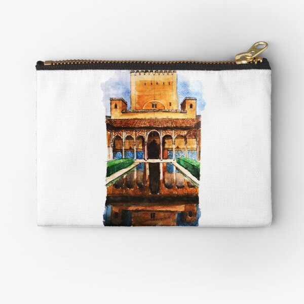 Alhambra Watercolor Painting Spanish Architecture Artwork Zipper Pouch