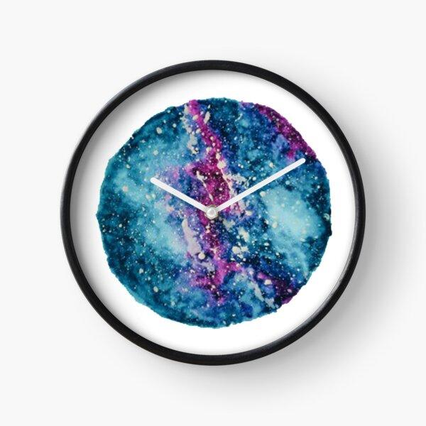 Watercolor Milky Way Galaxy Blue and Violet Clock