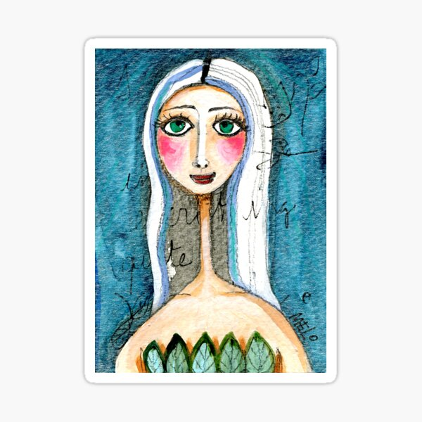 Happy Girl, Smiling Woman, Meloearth Painting Sticker