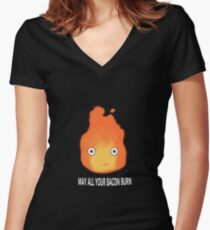 May All Your Bacon Burn Women's Fitted V-Neck T-Shirt