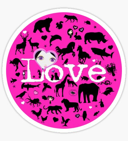 Love All Creatures - Black Silhouettes on Fuschia Sticker