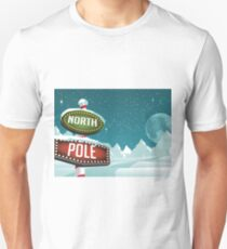 North Pole sign in a snowy Christmas scene. Unisex T-Shirt