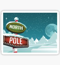 North Pole sign in a snowy Christmas scene. Sticker