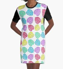 Rainbow Monstera Deliciosa Graphic T-Shirt Dress