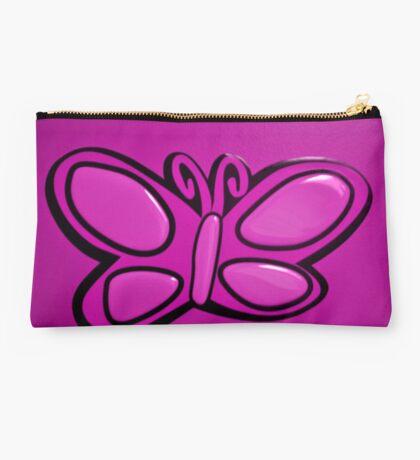Pink Butterflie On Wall Studio Pouch