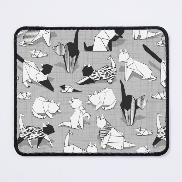 Origami kitten friends // grey linen texture background coloring paper cats Mouse Pad
