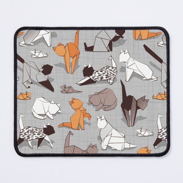 Origami kitten friends // grey linen texture background paper cats Mouse Pad