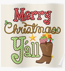 Merry Christmas Y'all Cowboy Boots Poster