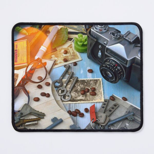 Old camera and vintage objects Mouse Pad