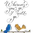 Wherever you go love birds typography quote by Melissa Renee