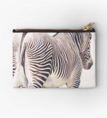 """""""Wrong Way"""" Zebra Wildlife Watercolor Studio Pouch"""