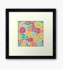 Cute retro doodle colorful pattern Framed Print