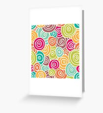 Cute retro doodle colorful pattern Greeting Card