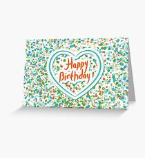 Happy birthday Card Heart and confetti  Greeting Card