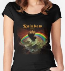 Rainbow Rising Rock Band Women's Fitted Scoop T-Shirt