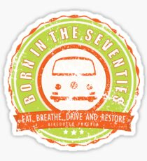 Retro Badge Seventies Orange Green Grunge Sticker