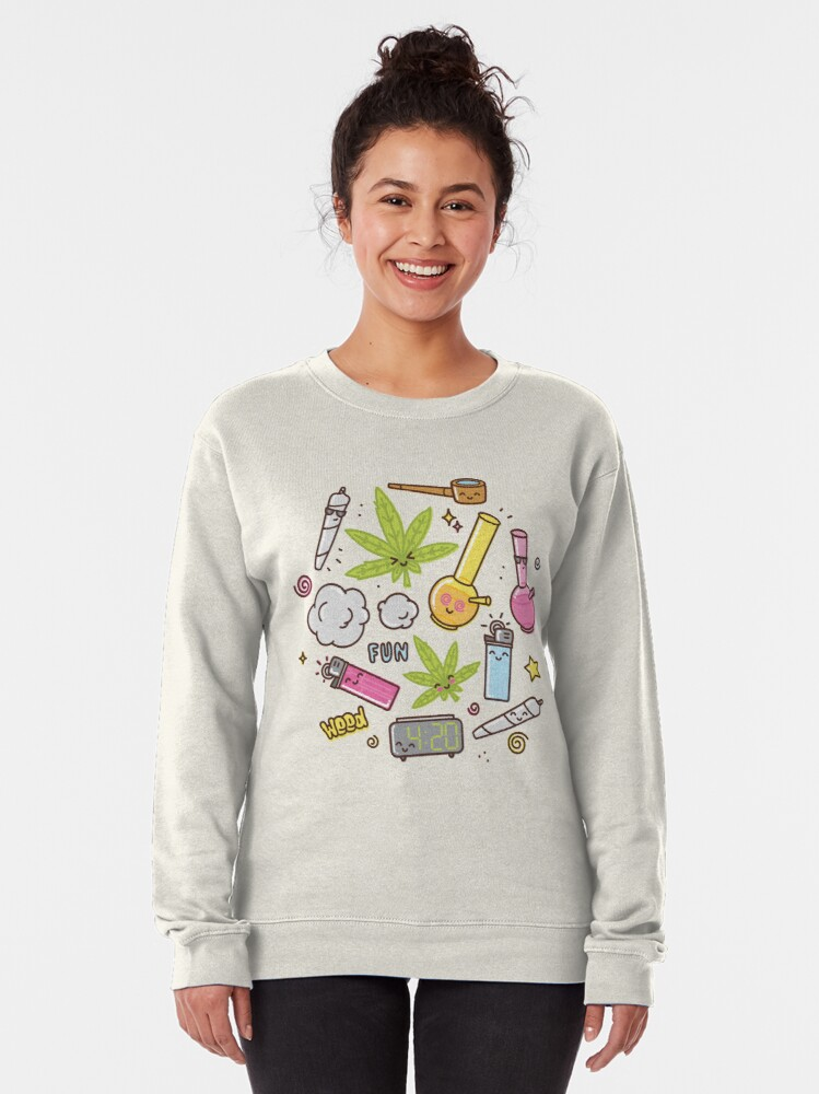 Alternate view of Kawaii marijuana / Cute weed Pullover Sweatshirt