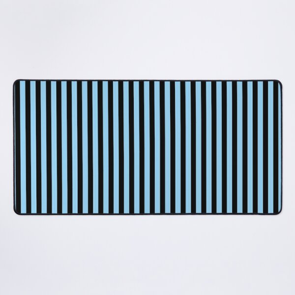 Thin Sky Blue and Black Stripes   Thin Vertical Stripes   Desk Mat