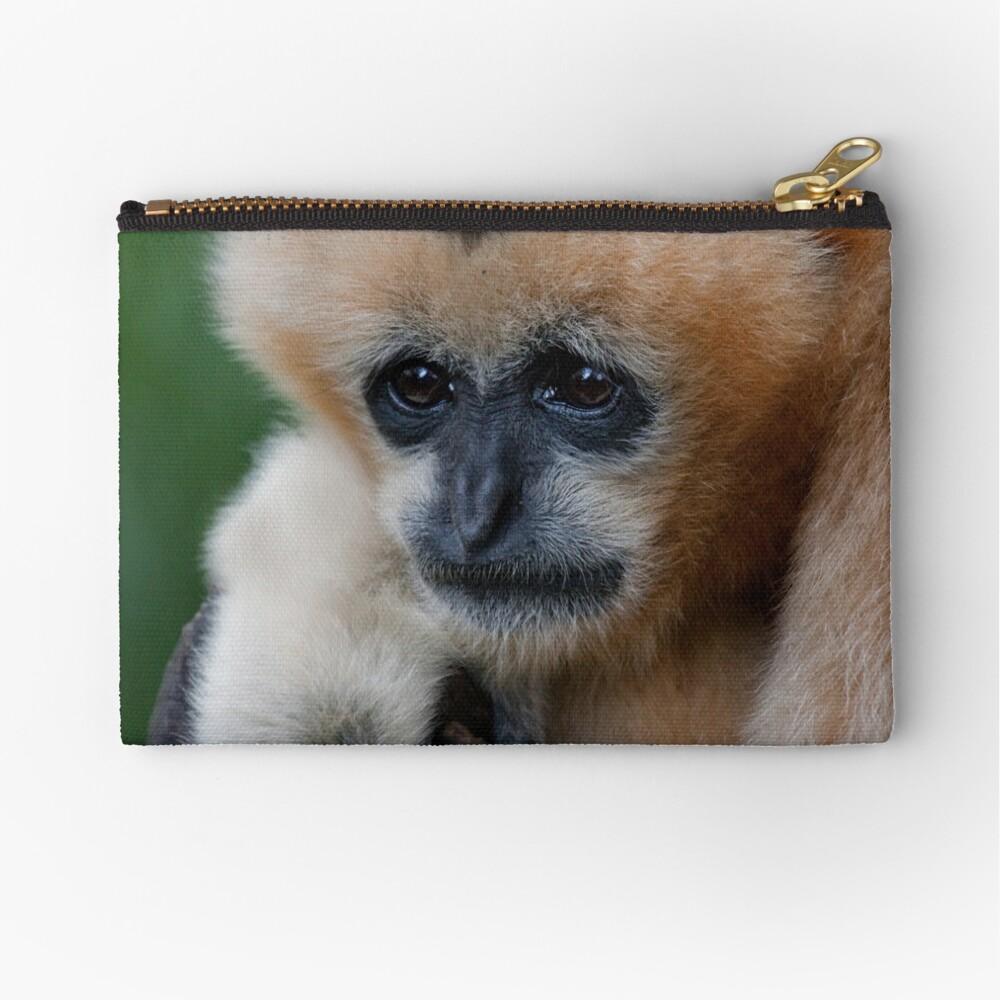 White Cheeked Gibbon Zipper Pouch