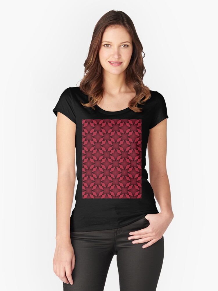 Tokyo Skytree Dark Red Women's Fitted Scoop T-Shirt Front