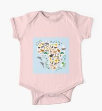 African animal map and ocean One Piece - Short Sleeve