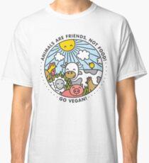 Camiseta clásica Los animales son amigos, no comida. ¡Vamos vegano!