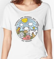 Animals are friends, not food. Go vegan!  Women's Relaxed Fit T-Shirt