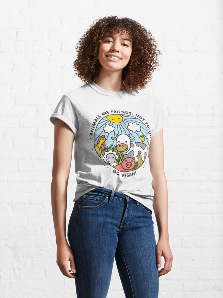 Alternate view of Animals are friends, not food. Go vegan!  Classic T-Shirt