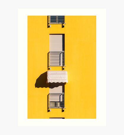 Window with sunshade on a yellow wall Art Print