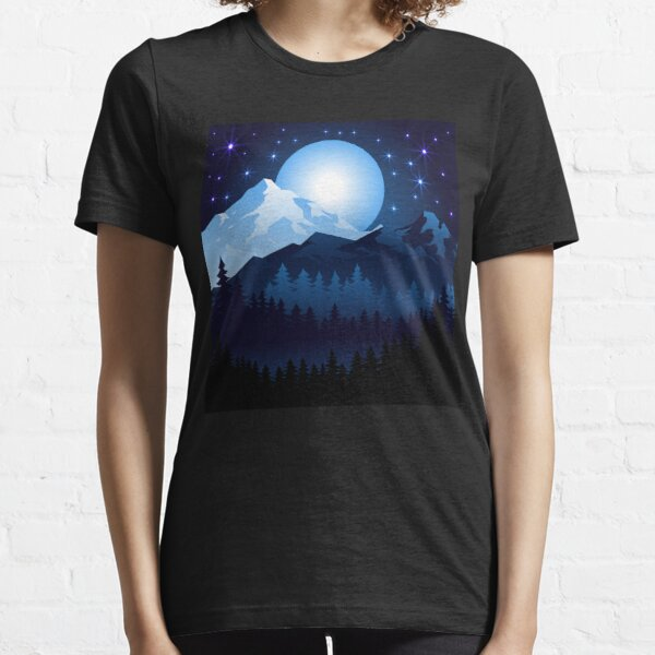 Blue Moon Mountain Forest trees Stars Graphics Standard Essential T-Shirt