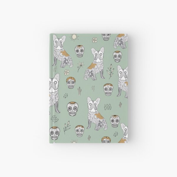 Teal green and Mustard colour Modern Mexican Folk art with cute french bulldog and Mexican sugar skulls Halloween pattern Hardcover Journal