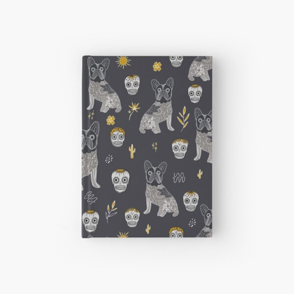 Dark grey and Mustard colour Modern Mexican Folk art with cute french bulldog and Mexican sugar skulls Halloween pattern Hardcover Journal