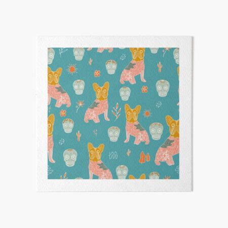 Bold colourful Modern Mexican Folk art with cute french bulldog and Mexican sugar skulls Halloween pattern Art Board Print