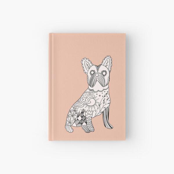 Modern French Bulldog Doodle, Mexican folk art in peach colour Hardcover Journal