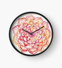 Watercolor Medallion in Sunset Colors Clock