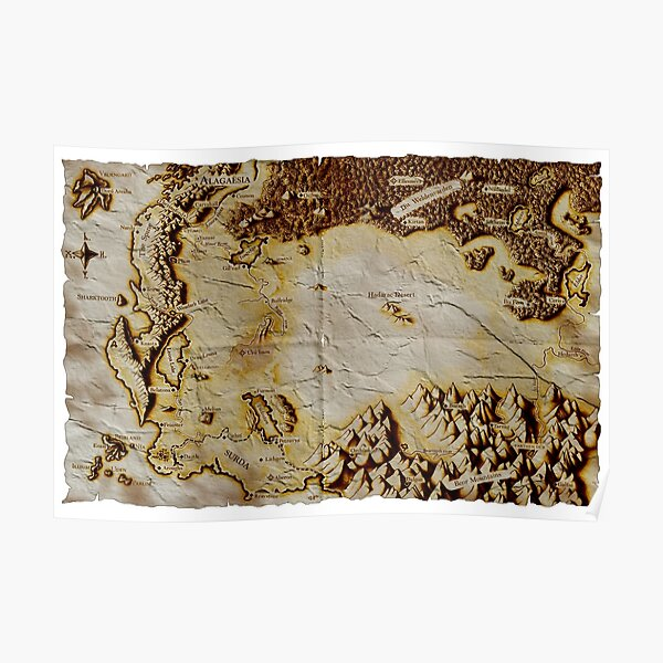 Old folded map of Alagaësia Poster