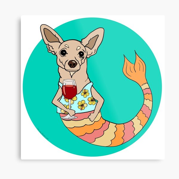 Chester the Chihuahua Mermutt Metal Print