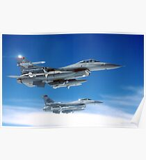 Flight of F-16 Falcons Poster