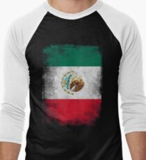 Mexico Flag Proud Mexican Vintage Distressed Men's Baseball ¾ T-Shirt
